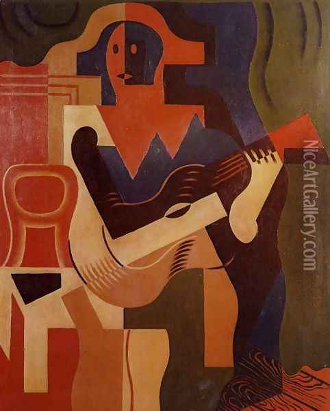 Harlequin With Guitar Oil Painting - Juan Gris