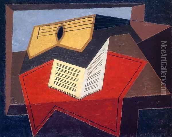 Guitar And Music Paper Oil Painting - Juan Gris