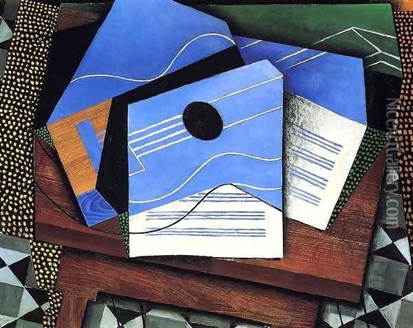 Guitar On A Table Oil Painting - Juan Gris
