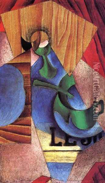 Glass, Cup and Newspaper Oil Painting - Juan Gris