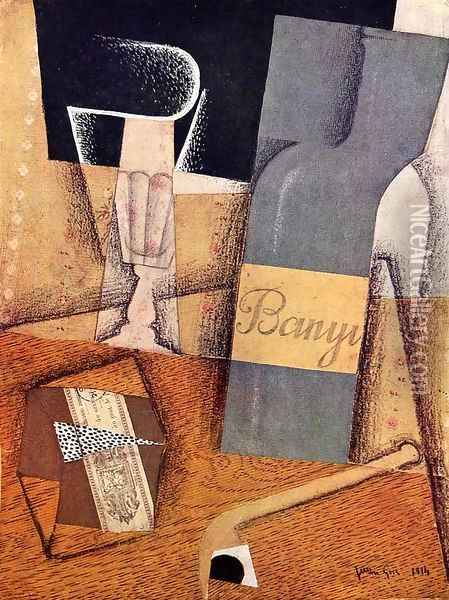 The Bottle Of Banyuls Oil Painting - Juan Gris