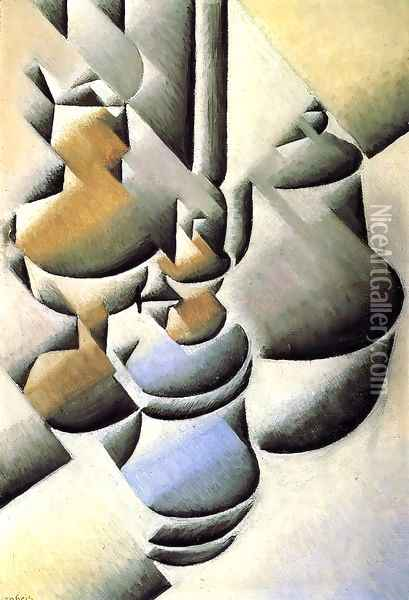 Still Life With Oil Lamp Oil Painting - Juan Gris