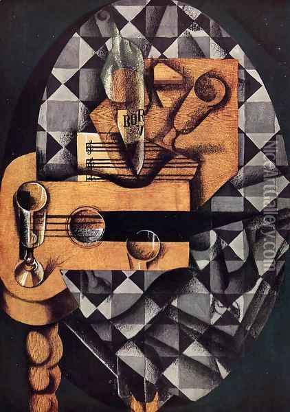 Guitar, Glasses and Bottle Oil Painting - Juan Gris