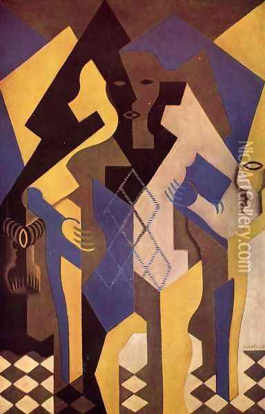 Harlequin At A Table Oil Painting - Juan Gris