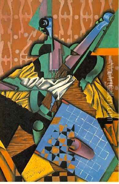 Violin And Checkerboard Oil Painting - Juan Gris