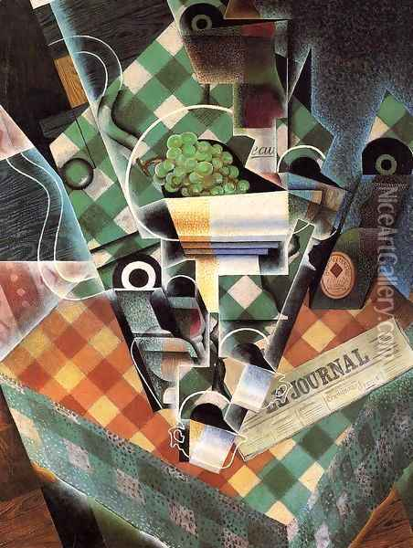 Still Life With Checked Tablecloth Oil Painting - Juan Gris