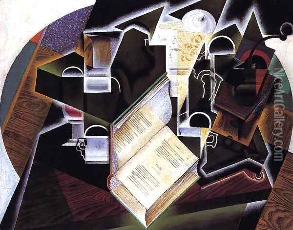 Book, Pipe and Glasses Oil Painting - Juan Gris