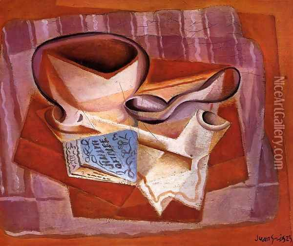 Bowl, Book and Spoon Oil Painting - Juan Gris