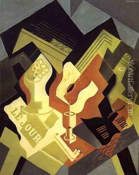 Guitar and Fruit Dish I Oil Painting - Juan Gris