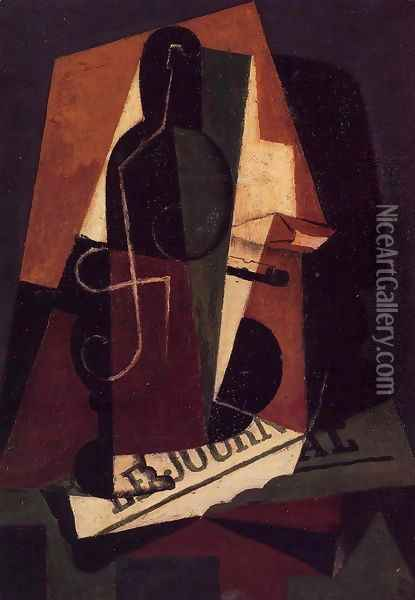 Bottle and Glass Oil Painting - Juan Gris