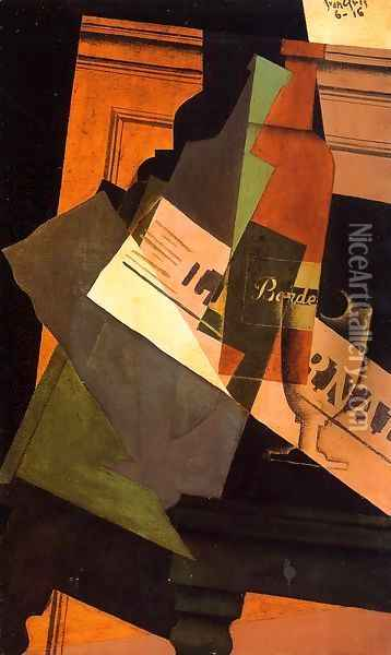 Bottle, Glass and Newspaper Oil Painting - Juan Gris