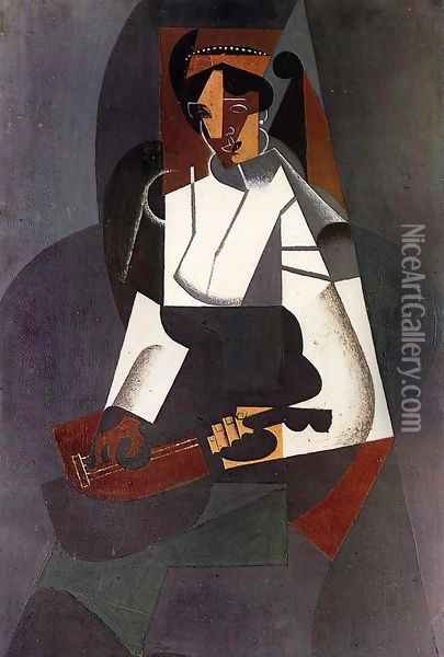 Woman with a Mandolin (after Corot) Oil Painting - Juan Gris