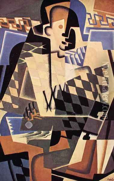 Harlequin with a Guitar Oil Painting - Juan Gris