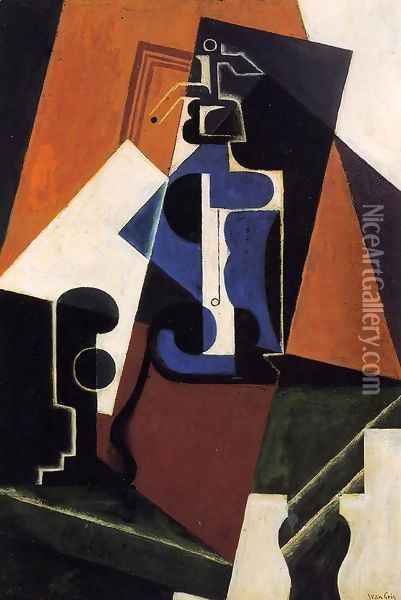 Seltzer Bottle and Glass Oil Painting - Juan Gris