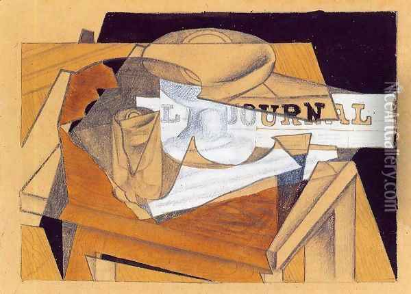 Bowl, Glass and Newspaper Oil Painting - Juan Gris