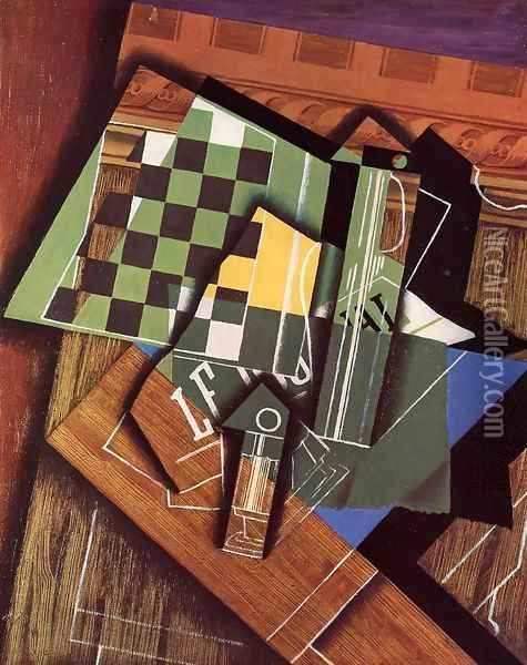 The Checkerboard Oil Painting - Juan Gris