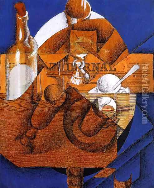 Glass, Cup and Bottle Oil Painting - Juan Gris