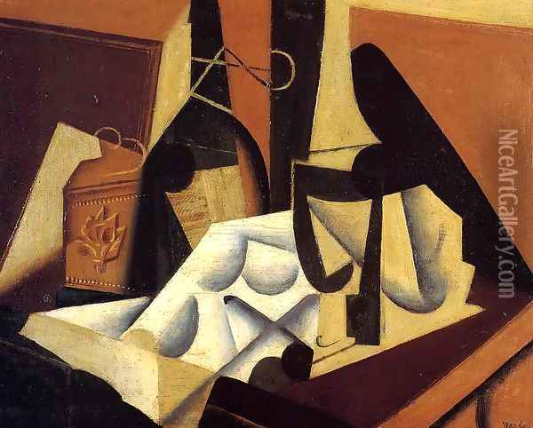 Still Life with White Tablecloth Oil Painting - Juan Gris