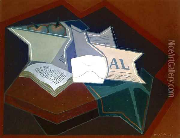 Compotier, Carafe and Open Book Oil Painting - Juan Gris