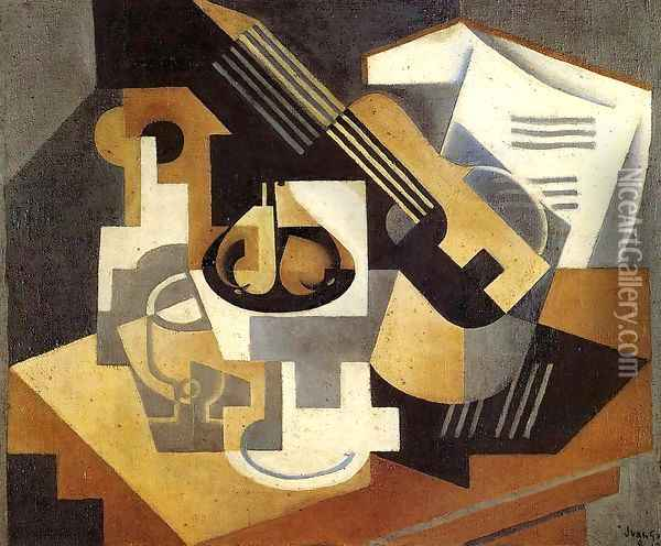 Guitar and Fruit Bowl on a Table Oil Painting - Juan Gris