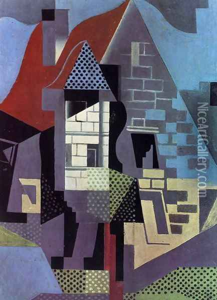 Landscape at Beaulieu Oil Painting - Juan Gris