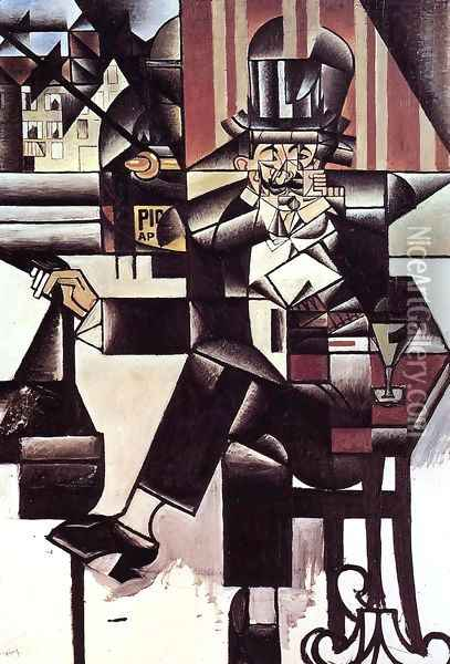 Man in the Cafe Oil Painting - Juan Gris