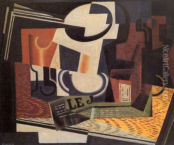 Still Life with Fruit Bowl Oil Painting - Juan Gris