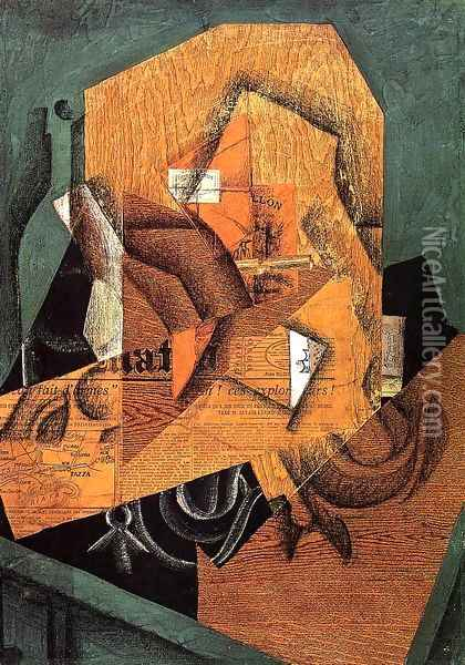 The Packet of Coffee Oil Painting - Juan Gris