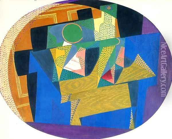 Fruit Bowl with Bottle I Oil Painting - Juan Gris