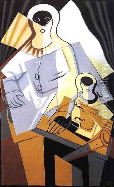 Pierrot I Oil Painting - Juan Gris