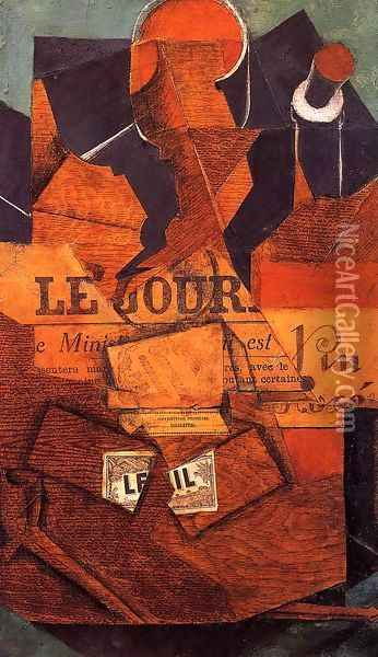 Tobacco, Newspaper and Bottle of Wine Oil Painting - Juan Gris