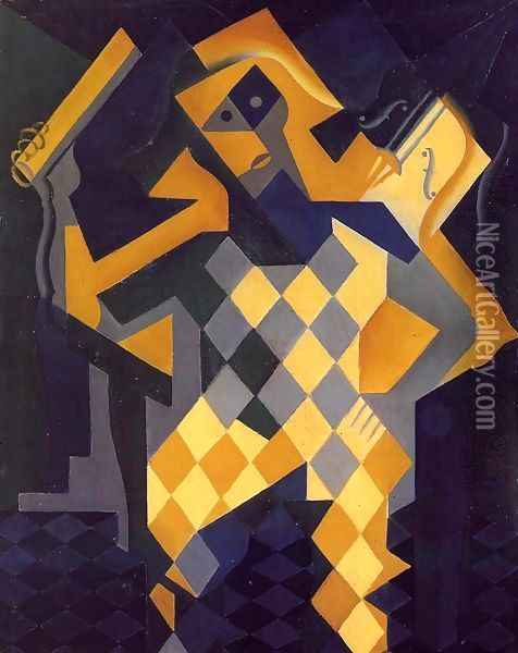 Harlequin with Violin Oil Painting - Juan Gris