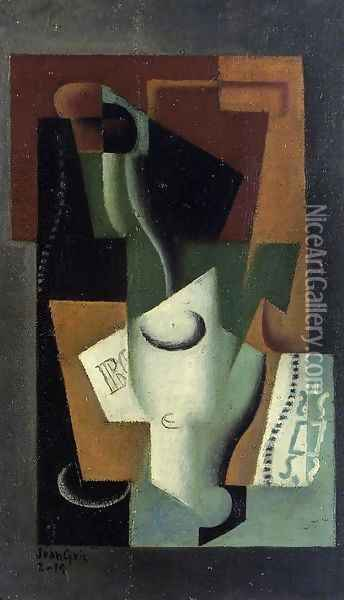 Glass and Bottle Oil Painting - Juan Gris
