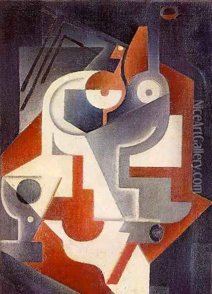 Newspaper, Glass and Pear Oil Painting - Juan Gris