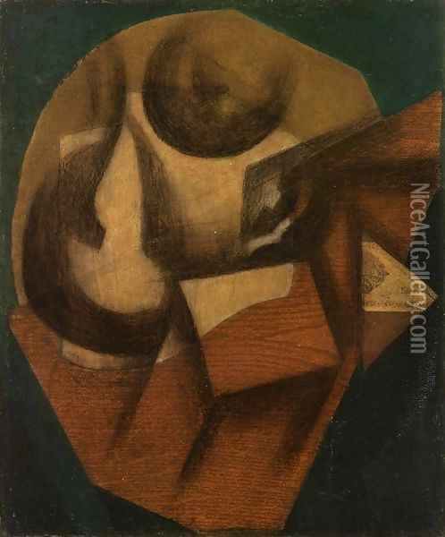 The Glass I Oil Painting - Juan Gris