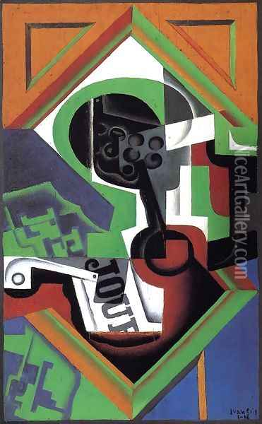 Pipe and Fruit Dish with Grapes Oil Painting - Juan Gris