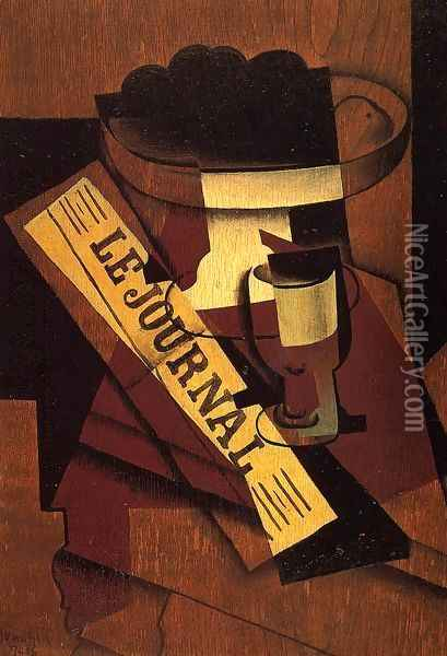 Fruit Dish, Glass and Newspaper Oil Painting - Juan Gris