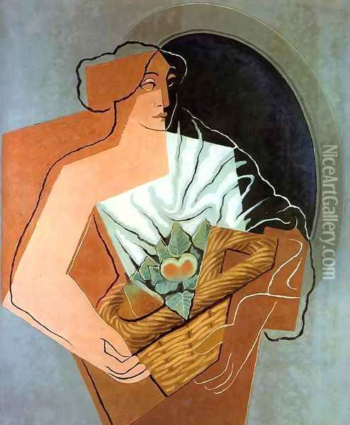 Woman With Basket Oil Painting - Juan Gris