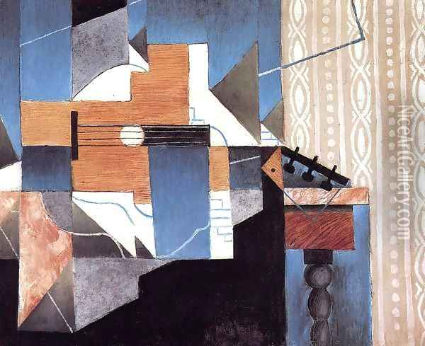 Guitar on the Table Oil Painting - Juan Gris