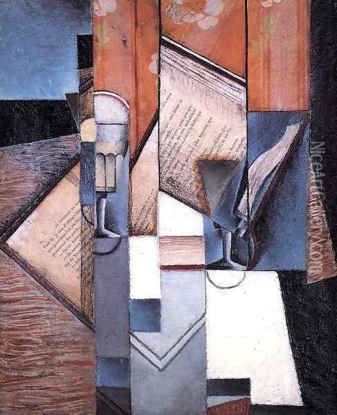 The Book Oil Painting - Juan Gris