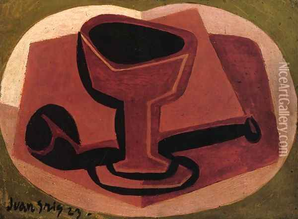 Pipe and Glass Oil Painting - Juan Gris