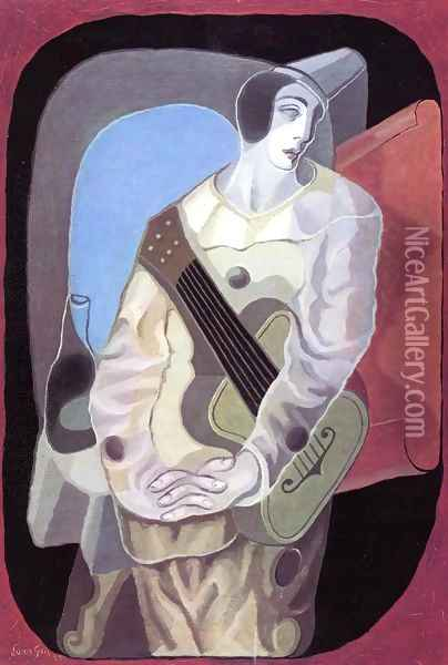 Pierrot with Guitar I Oil Painting - Juan Gris