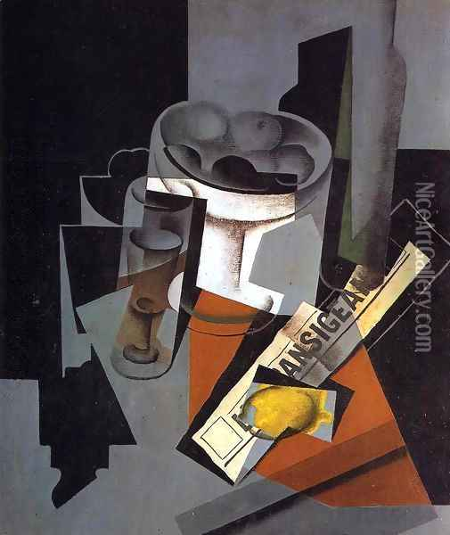 Still Life with Newspaper Oil Painting - Juan Gris