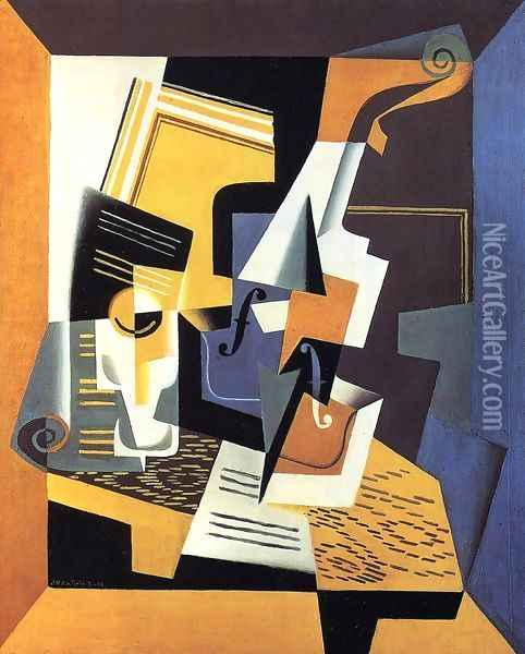 Violin and Glass I Oil Painting - Juan Gris