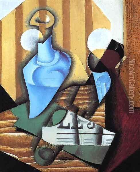 Still Life with Bottle and Glass Oil Painting - Juan Gris