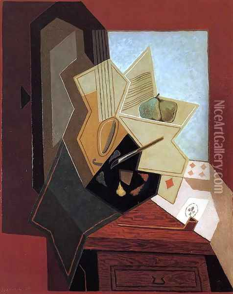 The Flower on the Table Oil Painting - Juan Gris