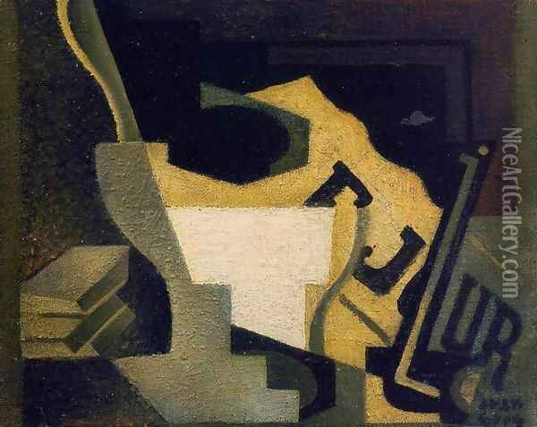Still Life with Newspaper I Oil Painting - Juan Gris