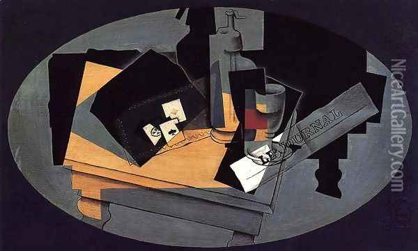 Playing Cards and Siphon Oil Painting - Juan Gris