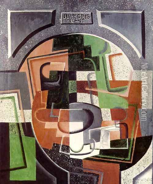 Still Life on Plaque Oil Painting - Juan Gris