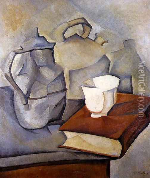 Still Life with Book 1913 Oil Painting - Juan Gris